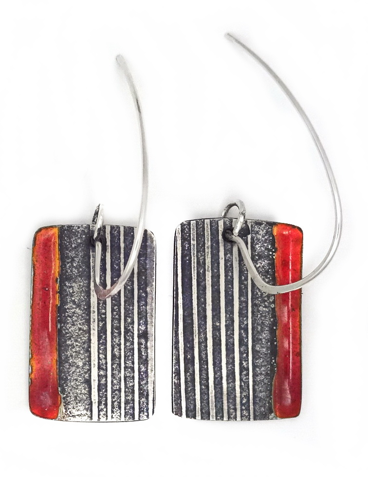 silver with red transparent enamel earrings by wicked imp designs