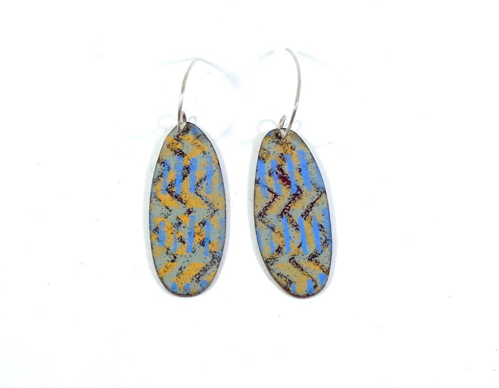oval vitreous opaque enamel earrings