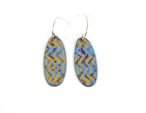 oval vitreous opaque enamel earrings
