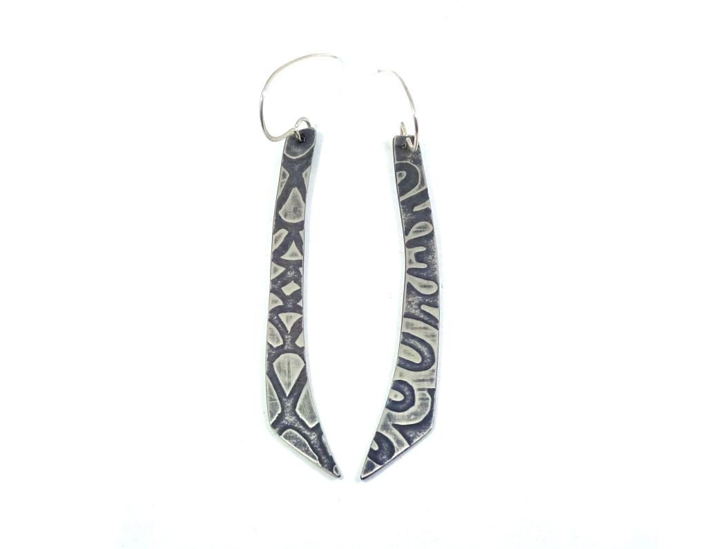 "silver earrings ""loop dee lou"" textured surface with patina finish. Made by wicked imp designs"