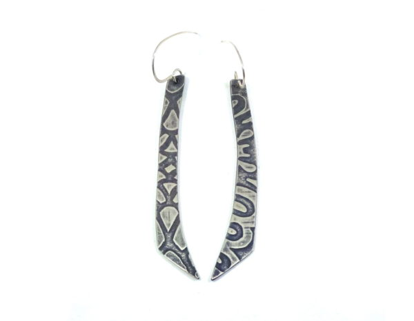 """silver earrings """"loop dee lou"""" textured surface with patina finish. Made by wicked imp designs"""