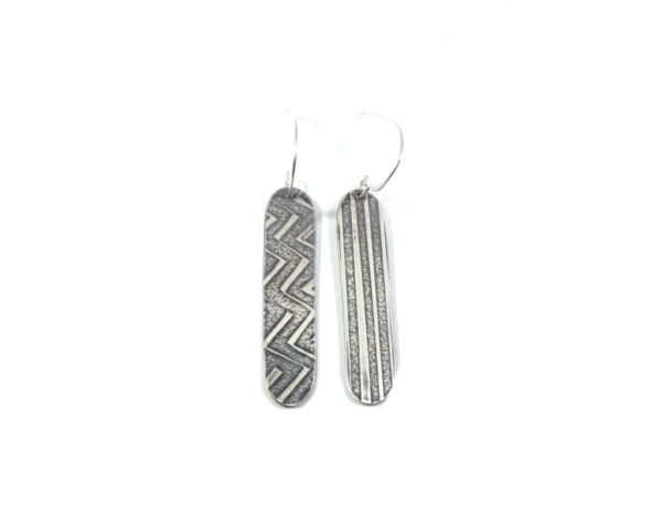 """silver earrings """"reading the signs"""" by wicked imp designs"""