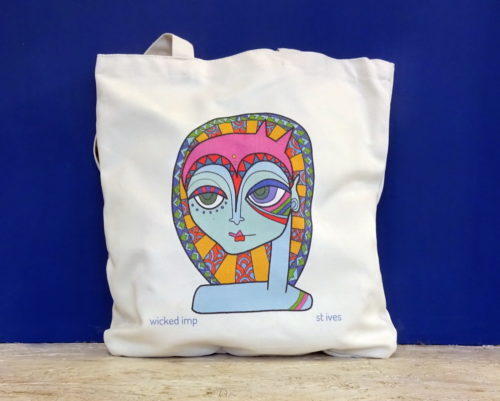 organic cotton shoulder shopper brightly coloured graphic of cat girl head and shoulders