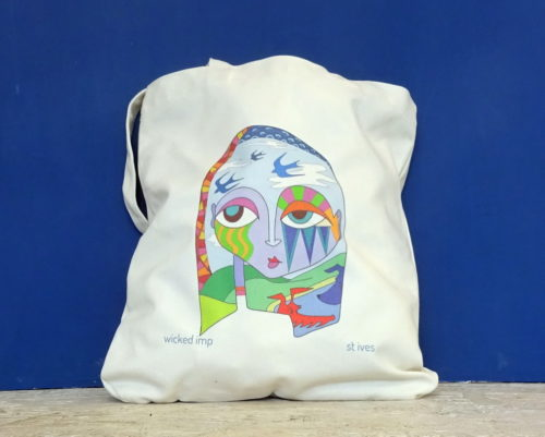 """tote bag organic cotton titled """"hounds and swallows"""""""