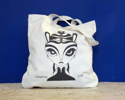 wicked imp designs tote with feisty female printed to one side