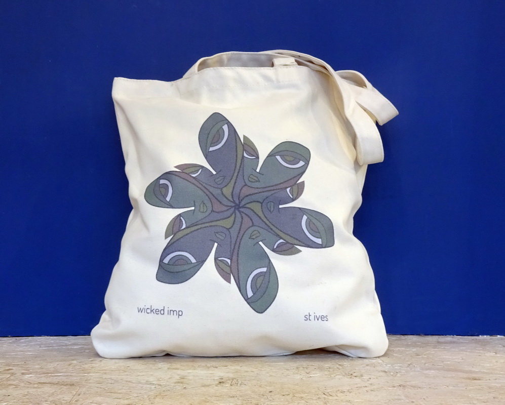 wicked imp organic cotton tote bag with spin you round design