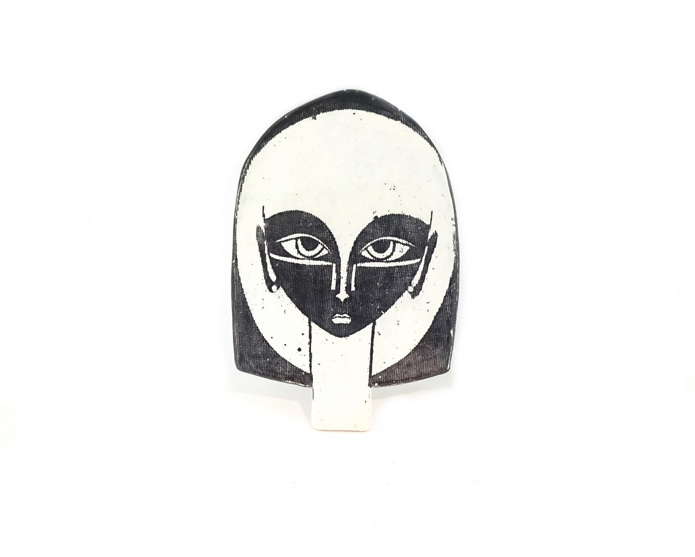 ceramic head wall sculpture Maude