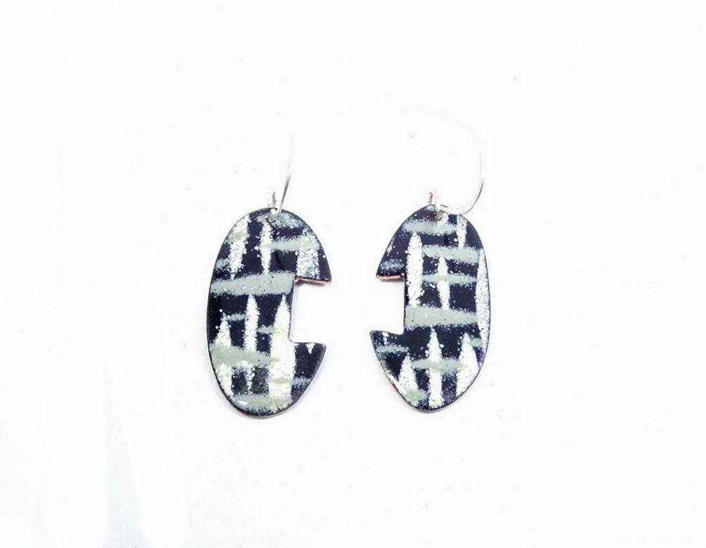 vitreous enamel earrings Night Sky 1