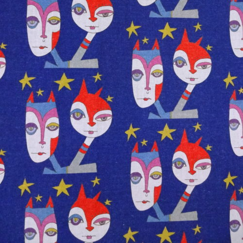 "wicked imp studio limited edition cotton fabric ""twilight"" double headed cat creatures with stars around head. Close up detail of fabric showing design of double headed cat create with stars around their heads"
