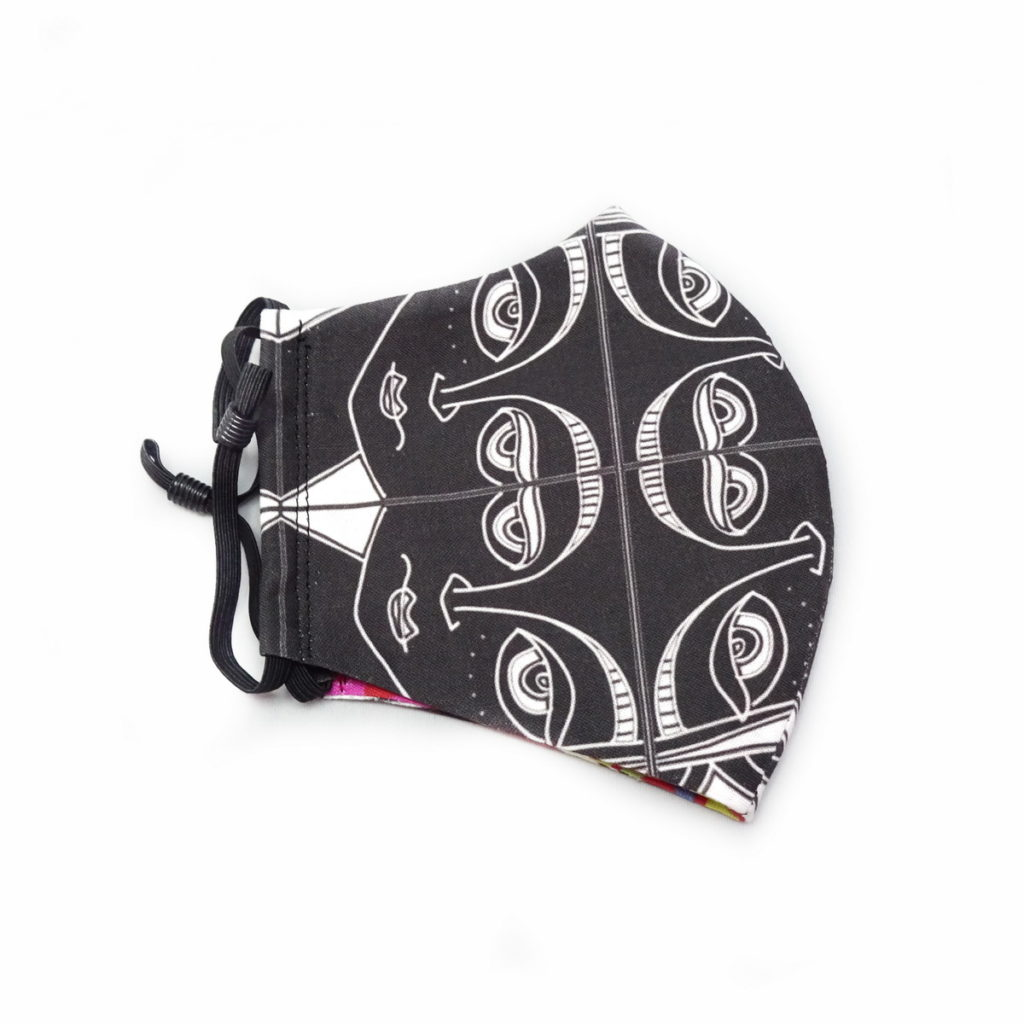 black and white head pattern fitted face mask 100% cotton wicked imp designs
