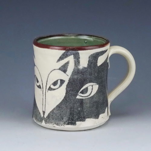 fox and hound companions ceramic mug wicked imp designs