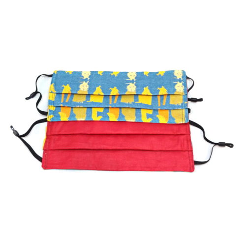 pleated face mask showing both front of waiting hounds with the 3 yello dogs on a blue background and the inside of the pleated face mask that is red