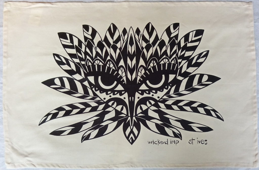 tea towel natural cotton with black silk screen design of stylised bird head