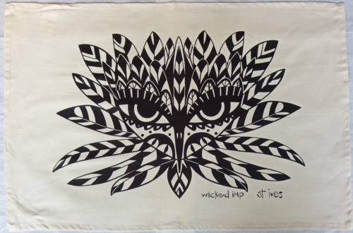 tea towel natural cotton with black silk screen design of stylised bird head